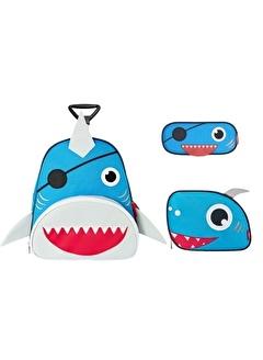 Zoozy Köpek Balığı Çekçekli Çanta Seti (Çekçekli Sırt Çanta-Beslenme Çantası-Kalemlik)